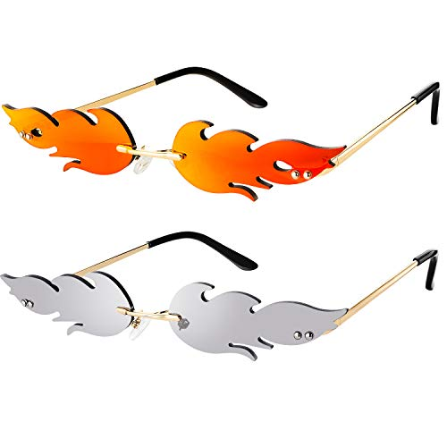 2 Pieces Fire Flame Sunglasses Flame Rimless Sunglasses Rimless Wave Glasses Fire Shape Glasses Eyewear for Party