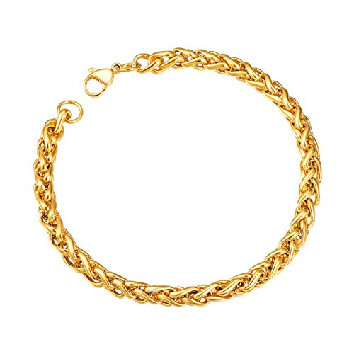 Men Round Wheat Chain Bracelet 18K Gold Plated 6mm Anklet Foot Bracelet