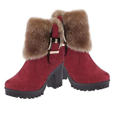 Inverno Calda Donna Impermeabile Neve Pelliccia Stivali Stivaletto Outdoor Mantenere Da Red Spessa qRxwE6