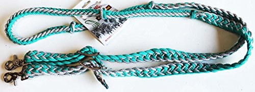ProRider Roping Knotted Horse Tack Western Barrel Reins Nylon Braided Turquoise 607476