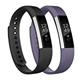 Fundro Replacement Bands Compatible with Alta Bands and Alta HR Band, Newest Sport Strap Wristband with Secure Buckle(2- Pack, for Women Men Boys Girls (#A Black+Gray, S)