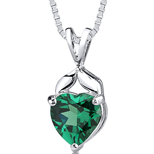Emerald heart necklace amazon simulated emerald heart shape pendant sterling silver 300 carats aloadofball Images