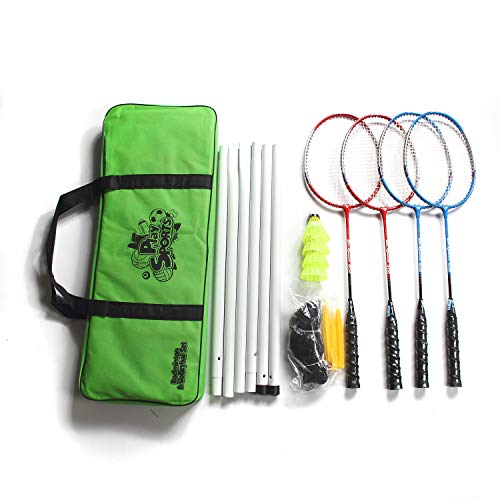 DECOQ Recreational 4-Player Aluminum Badminton Set-Complet Badminton Racket Set for Kids and Adults