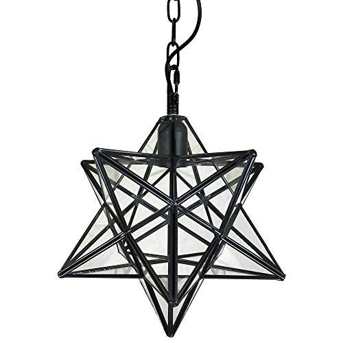 - KIRIN Moravian Star Pendant Hanging Vintage Chandelier Glass Rustic Industrial Edison Light Fxture Shade with Chain Retro Ceiling 11.8