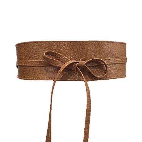 Charming House Women's Vintage Obi Bowknot Leather Wide Waist Cinch Belt (Tan) (Charming House)