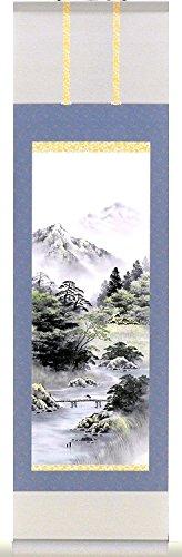 Karu!jiku(Mini kakejiku Japanese Scroll Wall Art Coloured San-sui(Natural Landscapes) Taoism and Zen. 15x53cm