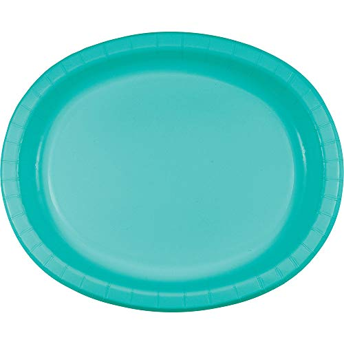 Creative Converting 324773 Touch of Color Oval Paper Platters, Teal Lagoon, Classic ()