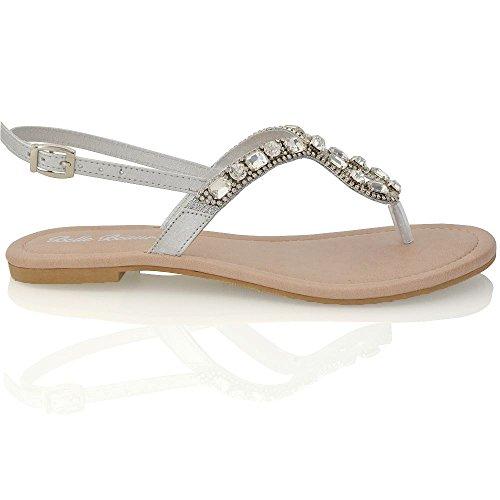 Essex Glam Femmes Sandales À Talons Plats Tongs Cristal Flip Flop Chaussures Argent