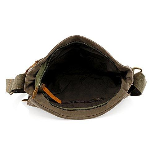 e6163b7afbf GEARONIC TM Men s Vintage Canvas Leather Tote Satchel School Military  Shoulder Messenger Sling Crossbody Hiking Bag Backpack For Toiletry Gym  Travel ...
