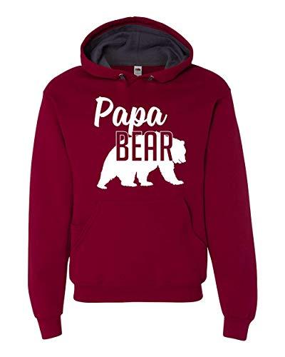 Papa Bear Hoodie Dad Mens Soft Hoodie Adult Unisex Sweatshirt - Sweatshirt Adult Cardinal