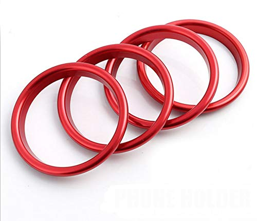 Interior Dashboard Air Conditioning Vents Decoration Trim Air Vent Outlet Trim Ring Cover Frame for Audi A3 S3(4 pcs/Pack) (Red)