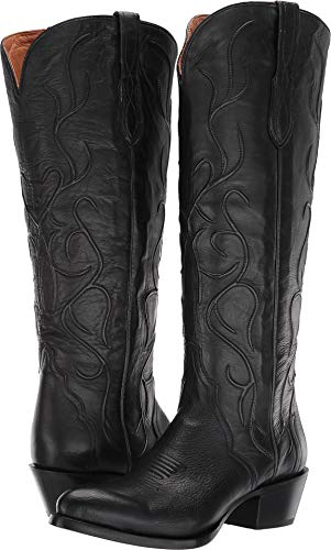 Lucchese Women's Peri Western Boot Round Toe Black 8 M