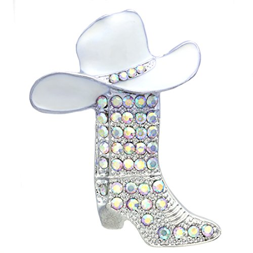 Soulbreezecollection Western Cowboy Boots Brooch White Hat Pin Charm Aurora Borealis Enamel Jewelry