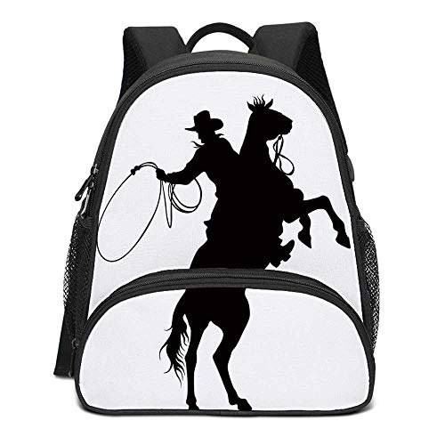 Cartoon Durable Kids Backpack,Cowboy and Horse Silhouette Man With a Hat Shadow Texas Rural Illustration for School Travel,10