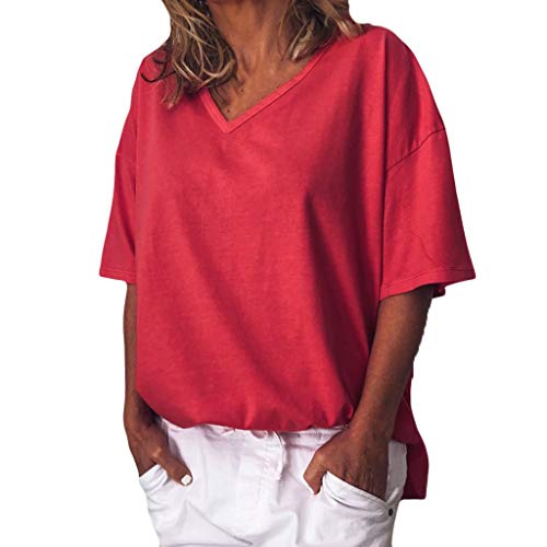 GHrcvdhw Stylish Women Chiffon Leisure Solid Color V-Neck Short Sleeve Top T-Shirt Red