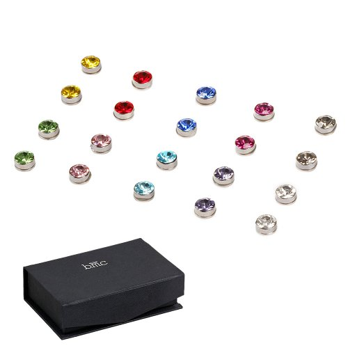 BMC 10pc Multicolor Sparkling Fashion Crystal Round Magnetic Clip On 5mm Stud Earring Set for Men/Women