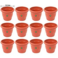 TrustBasket UV Treated Plastic Round Pots - Terracotta Color
