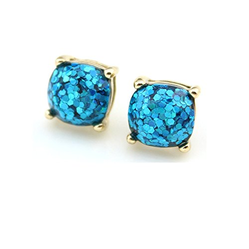 (Ivy & Clover Preppy Collection Post Stud Style Earrings (Goldtone Square Confetti Stud with Aqua Glitter))