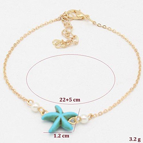 de turquoise les de Cdet Bracelets mer de Femme décoré Pied Bracelet Bijoux Plage étoiles Plage Pieds cheville avec Accessoire Cheville q1zXP1w