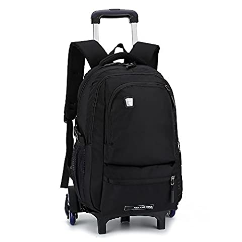 HIGOGOGO Oxford Farbic 6Wheels Rolling Backpack Pure Color Sports Bag , Size:19