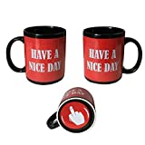 BonBon Have A Nice Day Coffee Mug Middle Finger Funny Cup for Milk, Juice, Tea, Coffee - Red