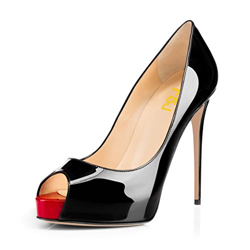 Toe Heels US with Pumps Peep FSJ Platform Size 15 Graceful Shoes Black Slip High Party Women On Patent 4 Prom YqTxtwg