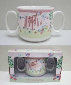 Twin Handled (Little Bird And Ellie Pink Twin Handled Cup By Cavania by lesser&pavey)