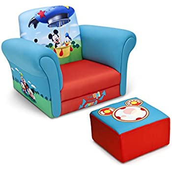 Gentil Delta Children Upholstered Chair With Ottoman, Disney Mickey Mouse