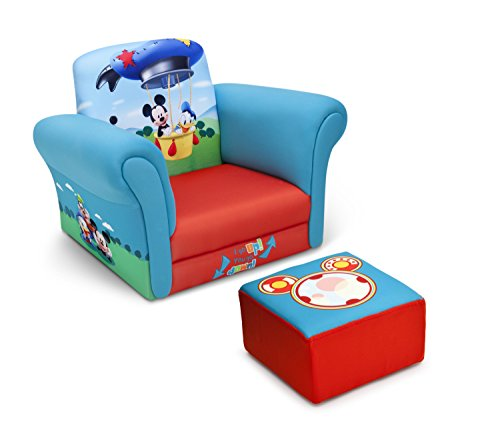 Boys Furniture - Delta Children Upholstered Chair with Ottoman, Disney Mickey Mouse