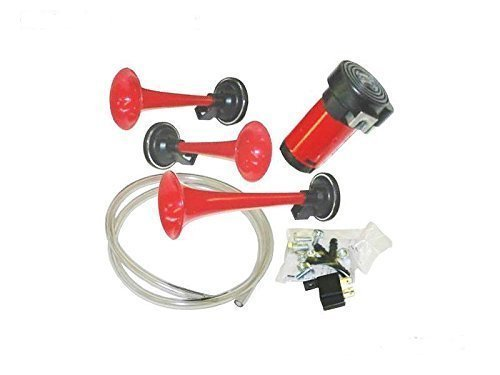 Red Silver Color Qiyun 178DB 12V//24V Super Loud Dual Trumpet Car Air Horn Compressor Kit for Motorcycle Boat Truck Train