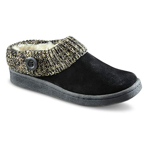 - Guide Gear Women's Suede Clog Slippers with Sweater Button Collar, Black, 9B (Medium)