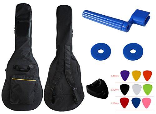 YMC 41 Inch Waterproof Dual Adjustable Shoulder Strap Acoustic Guitar Gig Bag 5mm Padding Backpack with Accessories(Picks, Pick holder, Strap Lock, String Winder) --For 40