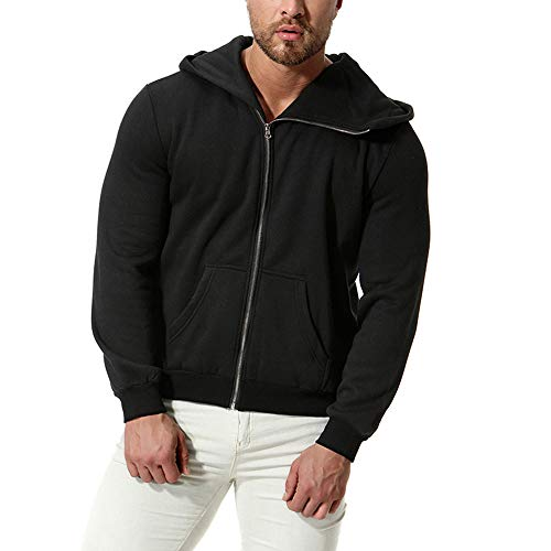 (Realdo Clearance Sale Mens Thick Sweatshirt,Mens Casual Solid Zipper Front Hoodie Coat with Pocket(XX-Large,Black))