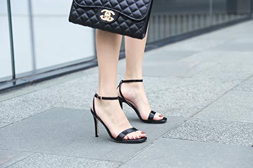 Noir Sandales Stiletto Talon Chaussures Cheville Femmes Toe Open Hauts Ruiren Talons BvZqxw5WOt