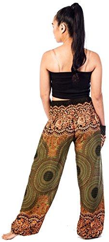 Lofbaz Mujer Harem Hippy Pantaloni cintura elástica bonzaai pantalones Rose 1 Verde