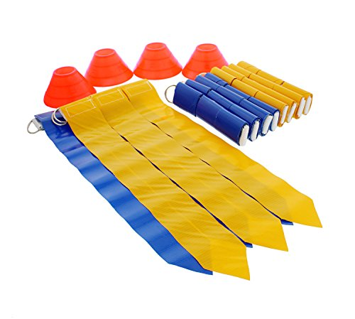 (Get Out! American Flag Football Set with Belts, Flags, Cones for 10 Players – Football Scuffle Scrimmage Practice)