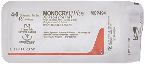Monocryl Sutures Ethicon (Ethicon MCP494G MONOCRYL Plus Antibacterial Absorbable Suture for P-3 Needle, Single Armed, 18