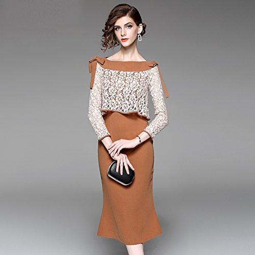 ZHUDJ Vestido Vestido Vestido De Manga Larga De Temperamento Fishtail Lace _ Otoño Falda Paquete Compacto Hip En La Marea brown