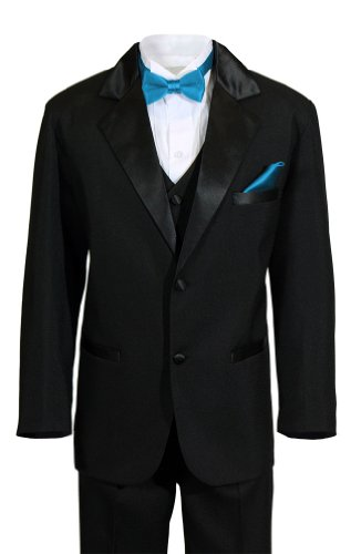 - Boys 2 Button Notch Ring Bearer Wedding Tuxedo with Colored Bow Tie and Pocket Square (16, Caribbean Blue)