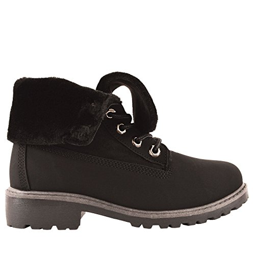 Kids Girls Fold Down Top Fluffy Faux Fur Lined Combat Winter Boots Ankle Shoes