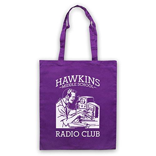 Stranger Things Hawkins Middle School Radio Club Bolso Morado