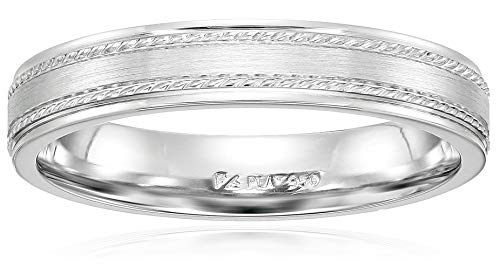 Mens Collection Platinum (Men's Platinum 4mm Wedding Band With Rope Detail, White, Size 9)