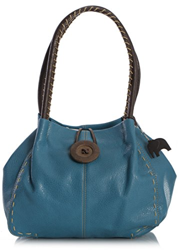 Teal bandoulière bouton Trendy Shop Sac à gros simili cuir Bleu Blue Sac Big Handbag xvg0wS7