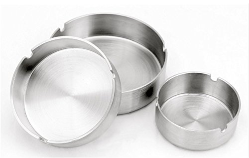Patty Both Set of 3 Stainless Steel Ashtray 3 Size (Small/Medium/Large).