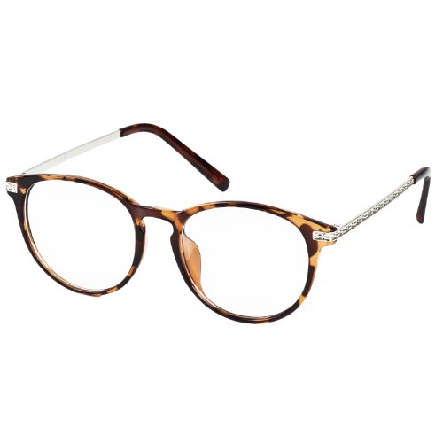 iB-iP Damen Metall Rautenmuster Klar Lense Mode Brillen, Leopard