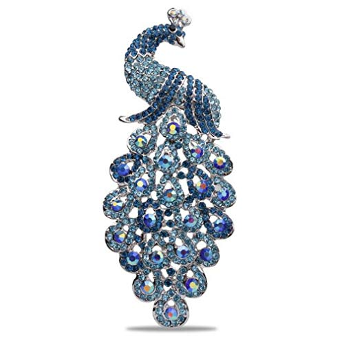 DARLING HER Large Size Shining Colored Crystal Rhinestones Peacock Brooches in 6 Assorted lt Blue -