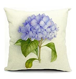 CCTUSGSH Large Flower Pattern Cotton Throw Pillow Case Cushion Cover 18¡Á18 Inches One Side