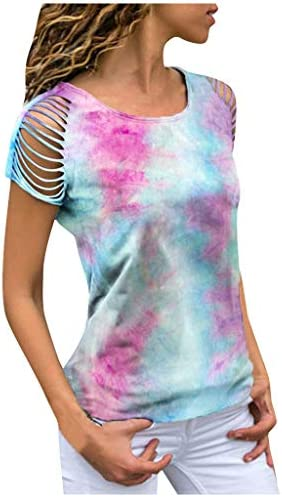 Houshelp Womens Tops Round Neck Tee Casual Short Sleeve T Shirts Tie Dye Chic Sleeve Blouse Summer Casual T-Shirts