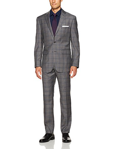 lim Fit 100% Wool Plaid Suit, Grey, 38 Regular ()