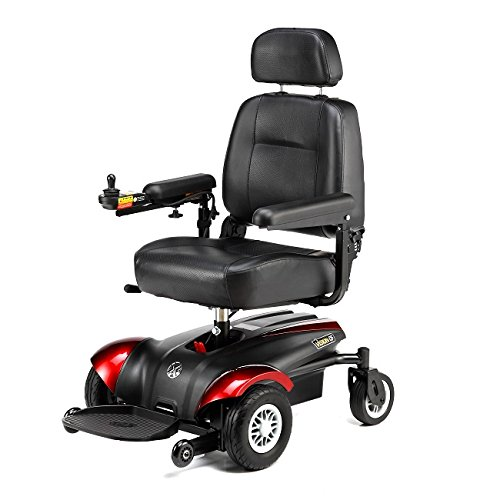 Merits Health Products - Vision CF - Front Wheel Drive Power Chair Electric Wheelchair - 18''W x 16''D - Red